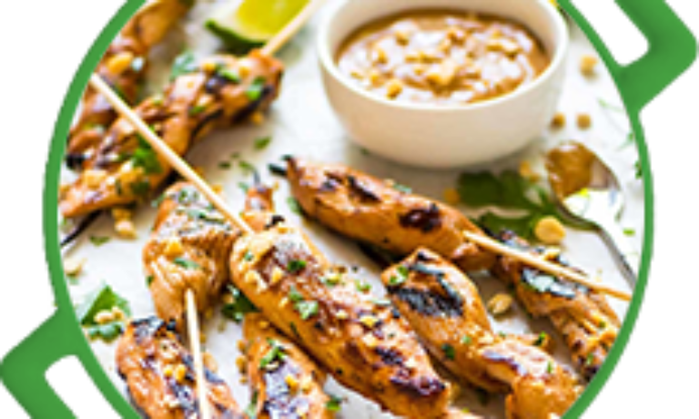 GRILLED CHICKEN SATAY WITH LILY'S PEANUT BUTTER SAUCE